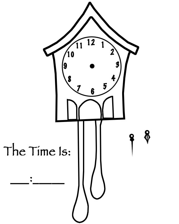 Kids Pages Time Clock Coloring Sheets Page 3